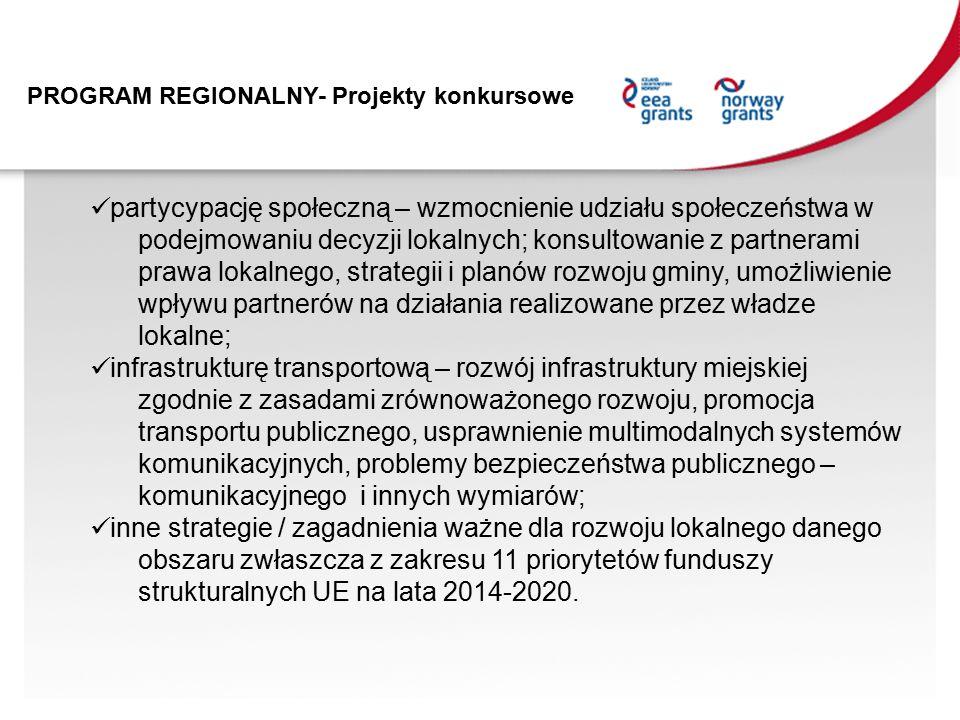 PROGRAM REGIONALNY- Projekty konkursowe partycypację społeczną – wzmocnienie udziału społeczeństwa w podejmowaniu decyzji lokalnych; konsultowanie z partnerami prawa lokalnego, strategii i planów rozwoju gminy, umożliwienie wpływu partnerów na działania realizowane przez władze lokalne; infrastrukturę transportową – rozwój infrastruktury miejskiej zgodnie z zasadami zrównoważonego rozwoju, promocja transportu publicznego, usprawnienie multimodalnych systemów komunikacyjnych, problemy bezpieczeństwa publicznego – komunikacyjnego i innych wymiarów; inne strategie / zagadnienia ważne dla rozwoju lokalnego danego obszaru zwłaszcza z zakresu 11 priorytetów funduszy strukturalnych UE na lata 2014-2020.