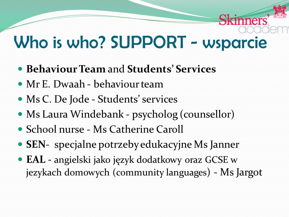 Who is who. SUPPORT - wsparcie Behaviour Team and Students' Services Mr E.