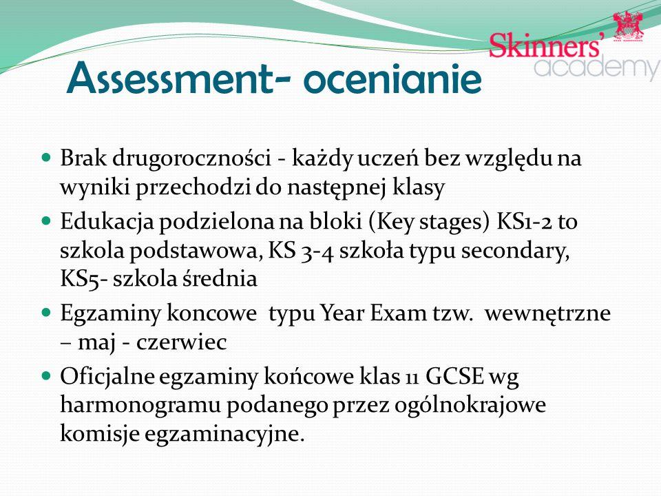 Assessment- ocenianie Brak drugoroczności - każdy uczeń bez względu na wyniki przechodzi do następnej klasy Edukacja podzielona na bloki (Key stages) KS1-2 to szkola podstawowa, KS 3-4 szkoła typu secondary, KS5- szkola średnia Egzaminy koncowe typu Year Exam tzw.