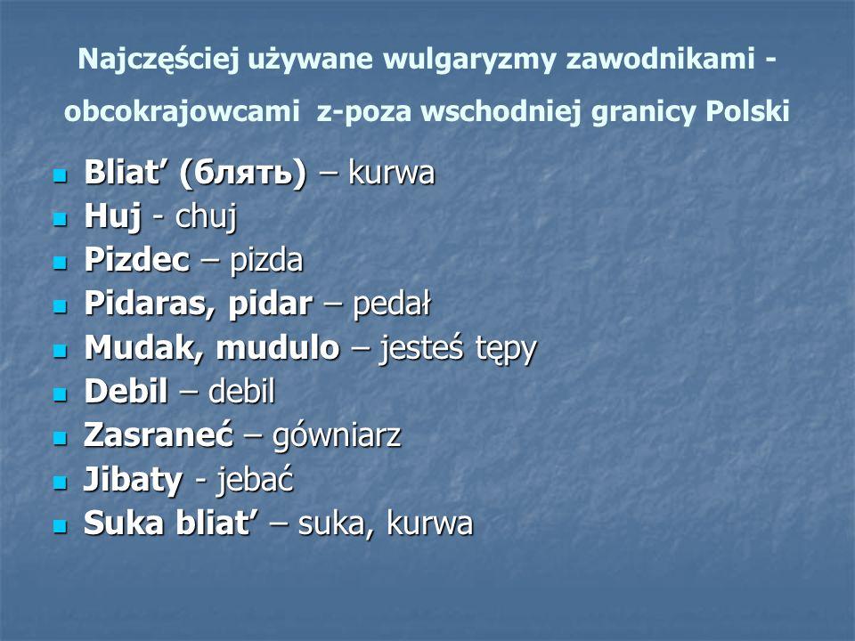 Najczęściej używane wulgaryzmy zawodnikami - obcokrajowcami z-poza wschodniej granicy Polski Bliat' (блять) – kurwa Bliat' (блять) – kurwa Huj - chuj Huj - chuj Pizdec – pizda Pizdec – pizda Pidaras, pidar – pedał Pidaras, pidar – pedał Mudak, mudulo – jesteś tępy Mudak, mudulo – jesteś tępy Debil – debil Debil – debil Zasraneć – gówniarz Zasraneć – gówniarz Jibaty - jebać Jibaty - jebać Suka bliat' – suka, kurwa Suka bliat' – suka, kurwa