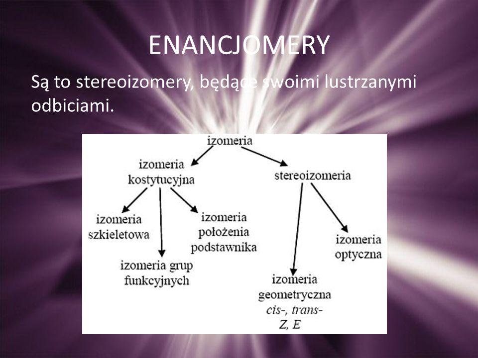 ENANCJOMERY Są to stereoizomery, będące swoimi lustrzanymi odbiciami.