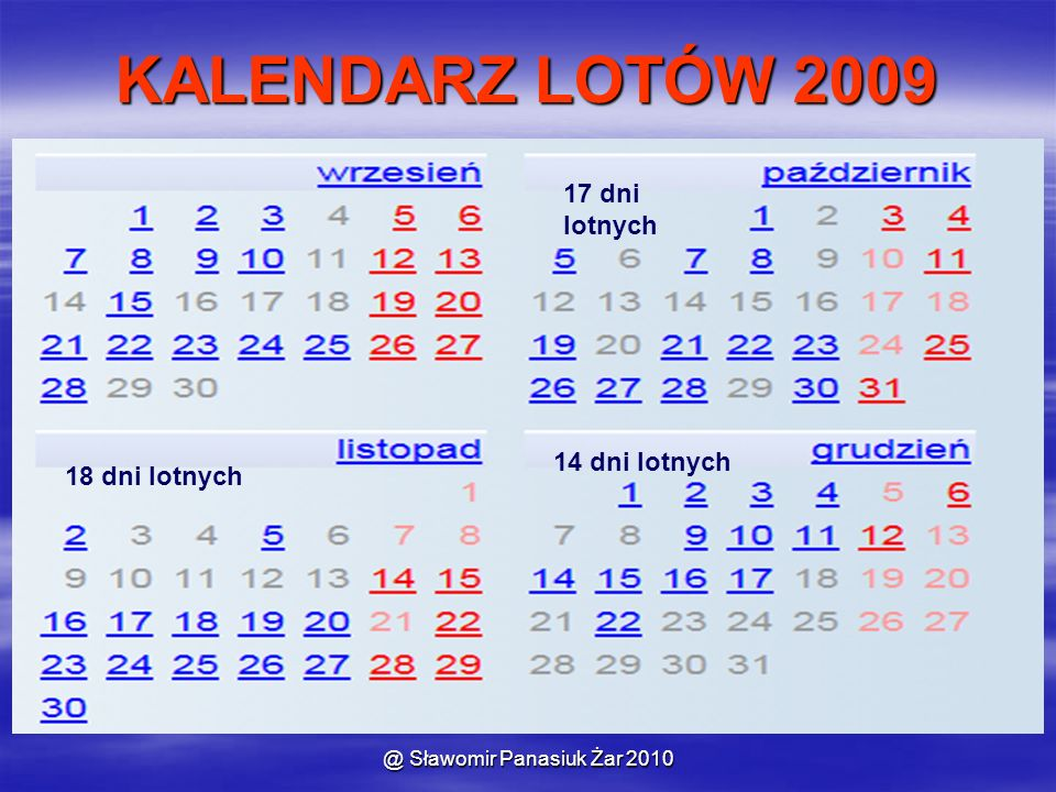 @ Sławomir Panasiuk Żar 2010 KALENDARZ LOTÓW 2009 17 dni lotnych 18 dni lotnych 14 dni lotnych