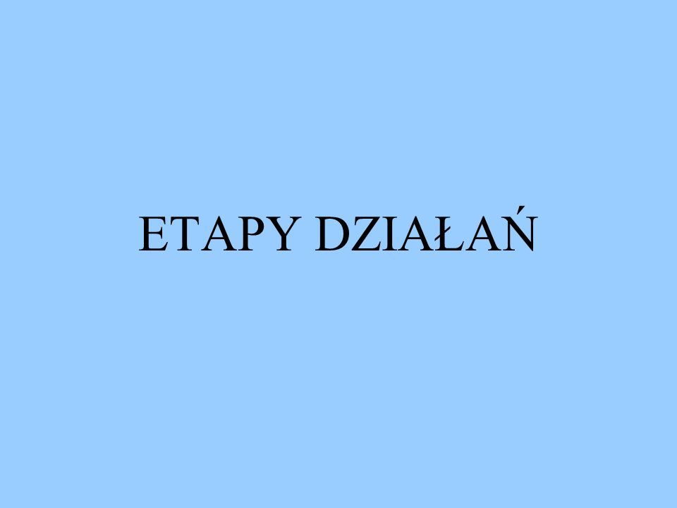 ETAPY DZIAŁAŃ