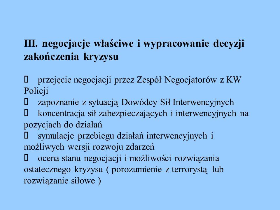 III. negocjacje właściwe i wypracowanie decyzji zakończenia kryzysu  przejęcie negocjacji przez Zespół Negocjatorów z KW Policji  zapoznanie z syt