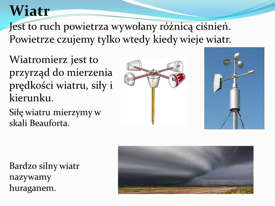 Wiatr Jest to ruch powietrza wywołany różnicą ciśnień.