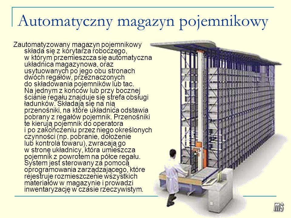 Automatyczny magazyn pojemnikowy Zautomatyzowany magazyn pojemnikowy składa się z korytarza roboczego, w którym przemieszcza się automatyczna układnic
