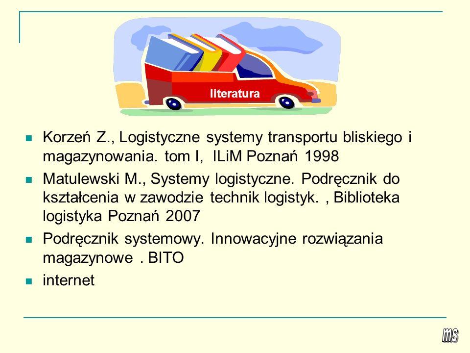 Korzeń Z., Logistyczne systemy transportu bliskiego i magazynowania. tom I, ILiM Poznań 1998 Matulewski M., Systemy logistyczne. Podręcznik do kształc