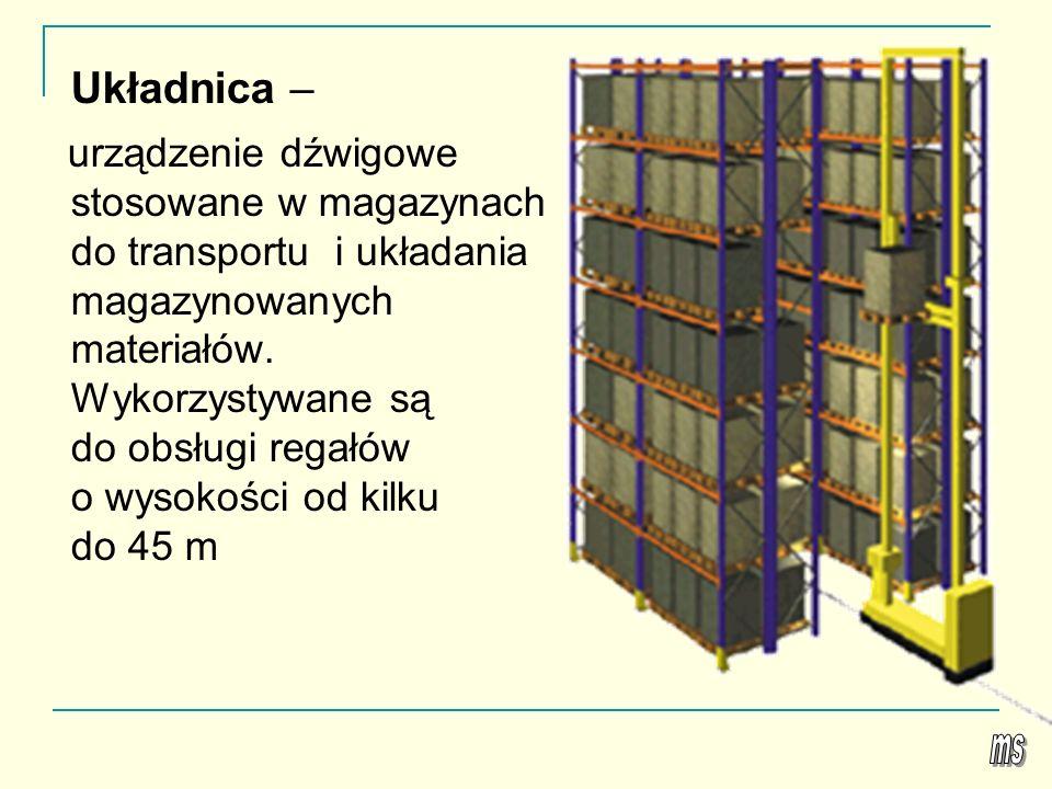Układnica – urządzenie dźwigowe stosowane w magazynach do transportu i układania magazynowanych materiałów. Wykorzystywane są do obsługi regałów o wys