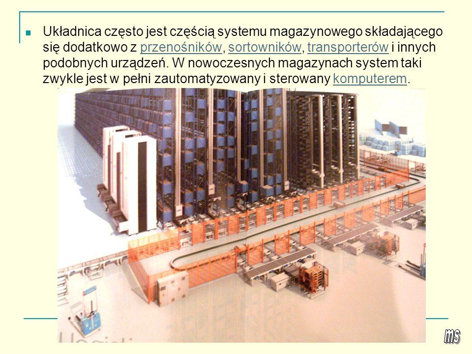 Automatyczny magazyn pojemnikowy Zautomatyzowany magazyn pojemnikowy składa się z korytarza roboczego, w którym przemieszcza się automatyczna układnica magazynowa, oraz usytuowanych po jego obu stronach dwóch regałów, przeznaczonych do składowania pojemników lub tac.