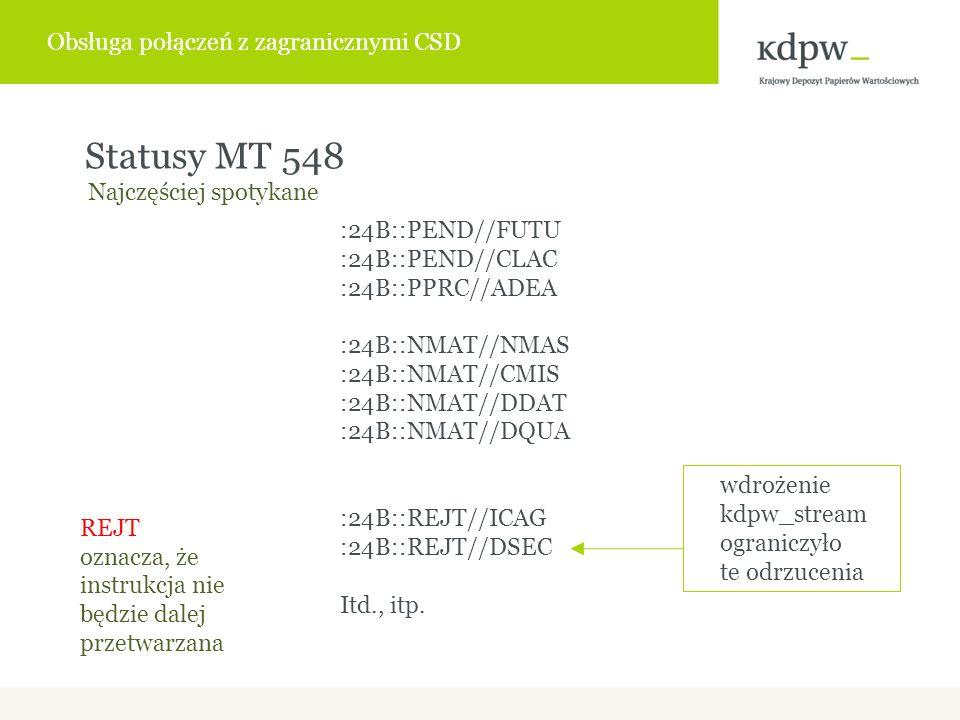 Statusy MT 548 REJT oznacza, że instrukcja nie będzie dalej przetwarzana Najczęściej spotykane :24B::PEND//FUTU :24B::PEND//CLAC :24B::PPRC//ADEA :24B::NMAT//NMAS :24B::NMAT//CMIS :24B::NMAT//DDAT :24B::NMAT//DQUA :24B::REJT//ICAG :24B::REJT//DSEC Itd., itp.