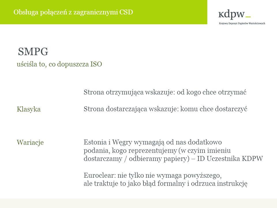 Strona otrzymująca wskazuje: od kogo chce otrzymać Strona dostarczająca wskazuje: komu chce dostarczyć Estonia i Węgry wymagają od nas dodatkowo podania, kogo reprezentujemy (w czyim imieniu dostarczamy / odbieramy papiery) – ID Uczestnika KDPW Euroclear: nie tylko nie wymaga powyższego, ale traktuje to jako błąd formalny i odrzuca instrukcję SMPG uściśla to, co dopuszcza ISO Klasyka Wariacje Obsługa połączeń z zagranicznymi CSD