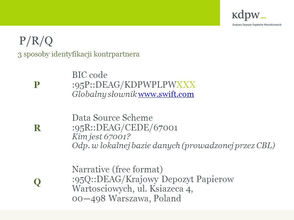 P/R/Q BIC code :95P::DEAG/KDPWPLPWXXX Globalny słownik www.swift.comwww.swift.com Data Source Scheme :95R::DEAG/CEDE/67001 Kim jest 67001.