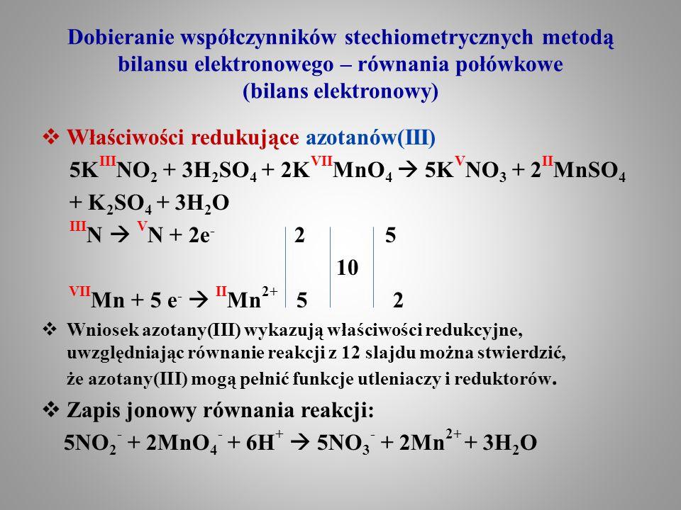 Dobieranie współczynników stechiometrycznych metodą bilansu elektronowego – równania połówkowe (bilans elektronowy)  Właściwości redukujące azotanów(