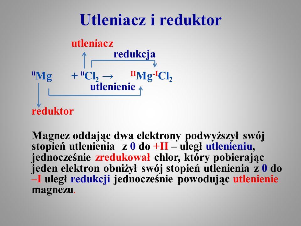 Utleniacz i reduktor utleniacz redukcja 0 Mg + 0 Cl 2 → II Mg -I Cl 2 utlenienie reduktor Magnez oddając dwa elektrony podwyższył swój stopień utlenie