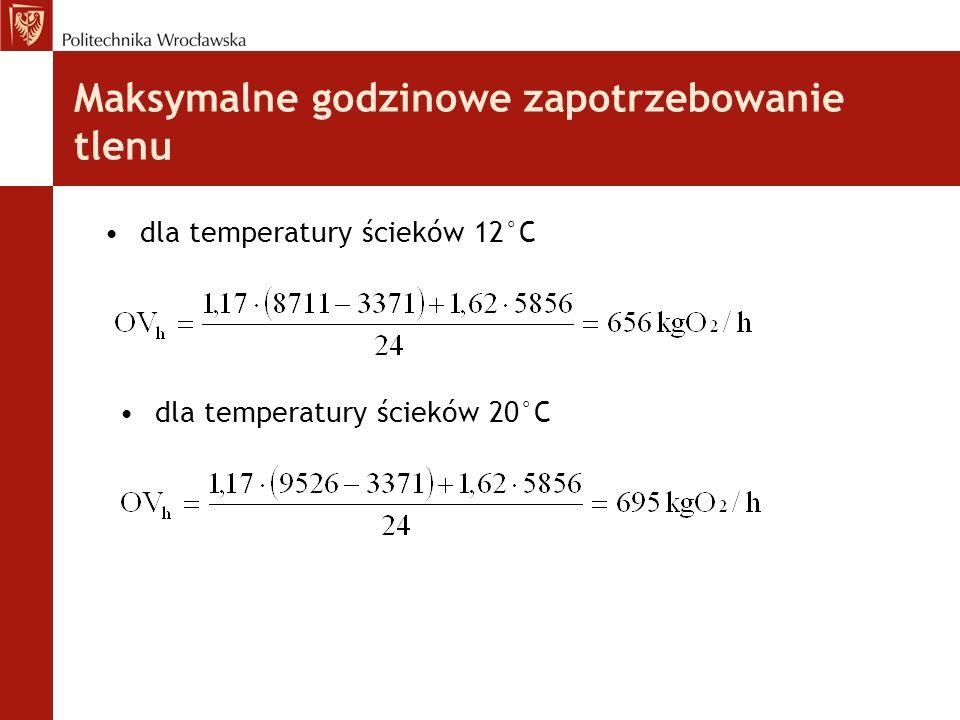 dla temperatury ścieków 12°C dla temperatury ścieków 20°C Maksymalne godzinowe zapotrzebowanie tlenu