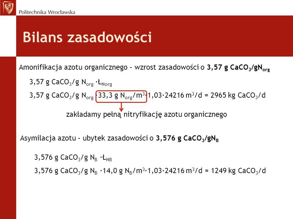 Bilans zasadowości Amonifikacja azotu organicznego – wzrost zasadowości o 3,57 g CaCO 3 /gN org 3,57 g CaCO 3 /g N org ·Ł Norg 3,57 g CaCO 3 /g N org ·33,3 g N org /m 3 ∙1,03∙24216 m 3 /d = 2965 kg CaCO 3 /d zakładamy pełną nitryfikację azotu organicznego Asymilacja azotu – ubytek zasadowości o 3,576 g CaCO 3 /gN B 3,576 g CaCO 3 /g N B ·Ł NB 3,576 g CaCO 3 /g N B ·14,0 g N B /m 3 ∙1,03∙24216 m 3 /d = 1249 kg CaCO 3 /d