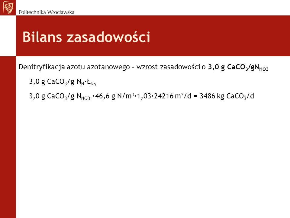 Denitryfikacja azotu azotanowego – wzrost zasadowości o 3,0 g CaCO 3 /gN NO3 3,0 g CaCO 3 /g N N ·Ł N D 3,0 g CaCO 3 /g N NO3 ·46,6 g N/m 3 ∙1,03∙24216 m 3 /d = 3486 kg CaCO 3 /d Bilans zasadowości