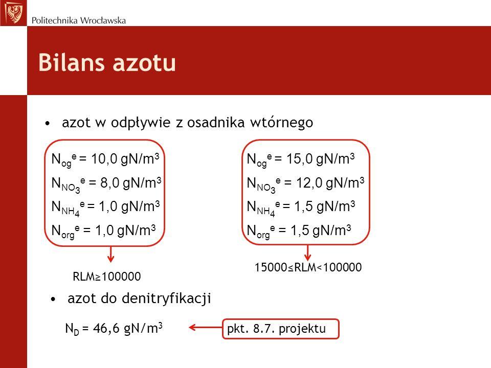 Bilans azotu azot w odpływie z osadnika wtórnego N og e = 10,0 gN/m 3 N NO 3 e = 8,0 gN/m 3 N NH 4 e = 1,0 gN/m 3 N org e = 1,0 gN/m 3 N og e = 15,0 gN/m 3 N NO 3 e = 12,0 gN/m 3 N NH 4 e = 1,5 gN/m 3 N org e = 1,5 gN/m 3 RLM≥100000 15000≤RLM<100000 azot do denitryfikacji N D = 46,6 gN/m 3 pkt.
