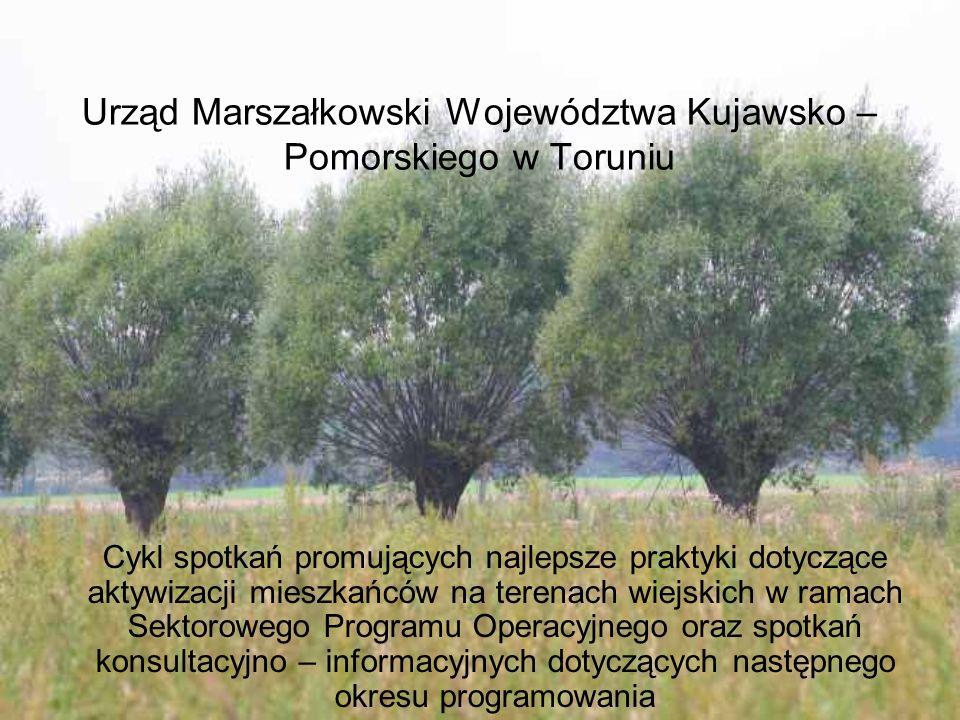 Urząd Marszałkowski Województwa Kujawsko – Pomorskiego w Toruniu Cykl spotkań promujących najlepsze praktyki dotyczące aktywizacji mieszkańców na tere