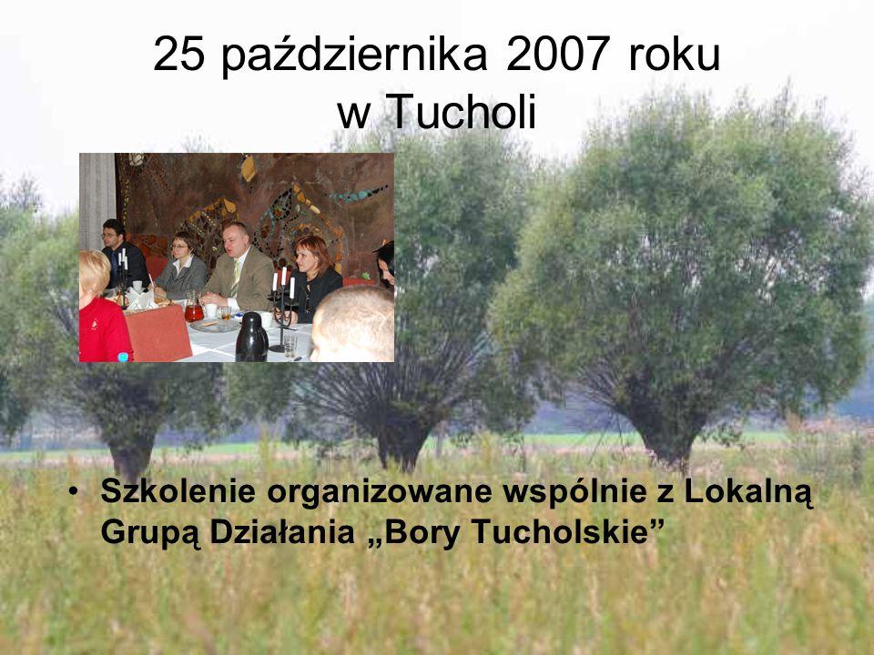"""25 października 2007 roku w Tucholi Szkolenie organizowane wspólnie z Lokalną Grupą Działania """"Bory Tucholskie"""