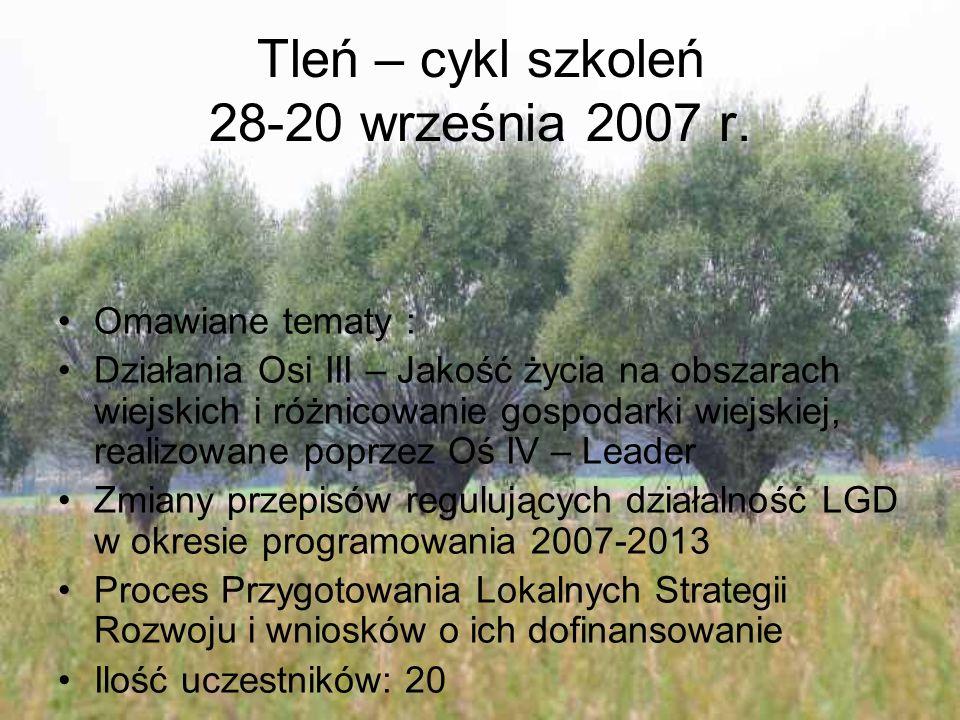 Tleń – cykl szkoleń 28-20 września 2007 r. Omawiane tematy : Działania Osi III – Jakość życia na obszarach wiejskich i różnicowanie gospodarki wiejski