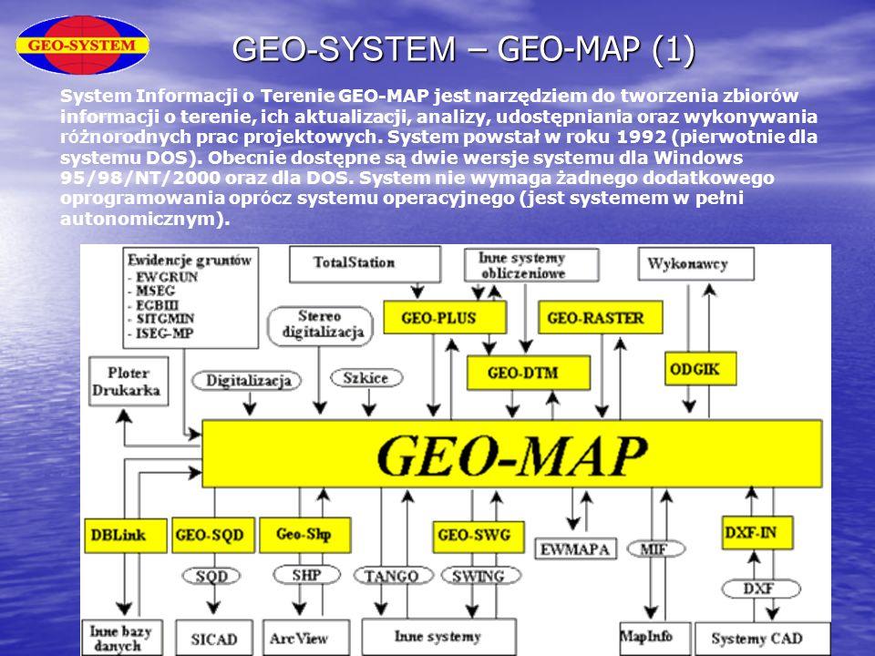 GEO-SYSTEM – GEO-MAP (1) System Informacji o Terenie GEO-MAP jest narzędziem do tworzenia zbior ó w informacji o terenie, ich aktualizacji, analizy, u