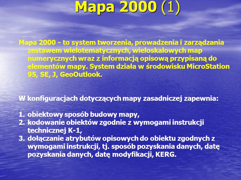 Mapa 2000 (1) Mapa 2000 - to system tworzenia, prowadzenia i zarządzania zestawem wielotematycznych, wieloskalowych map numerycznych wraz z informacją