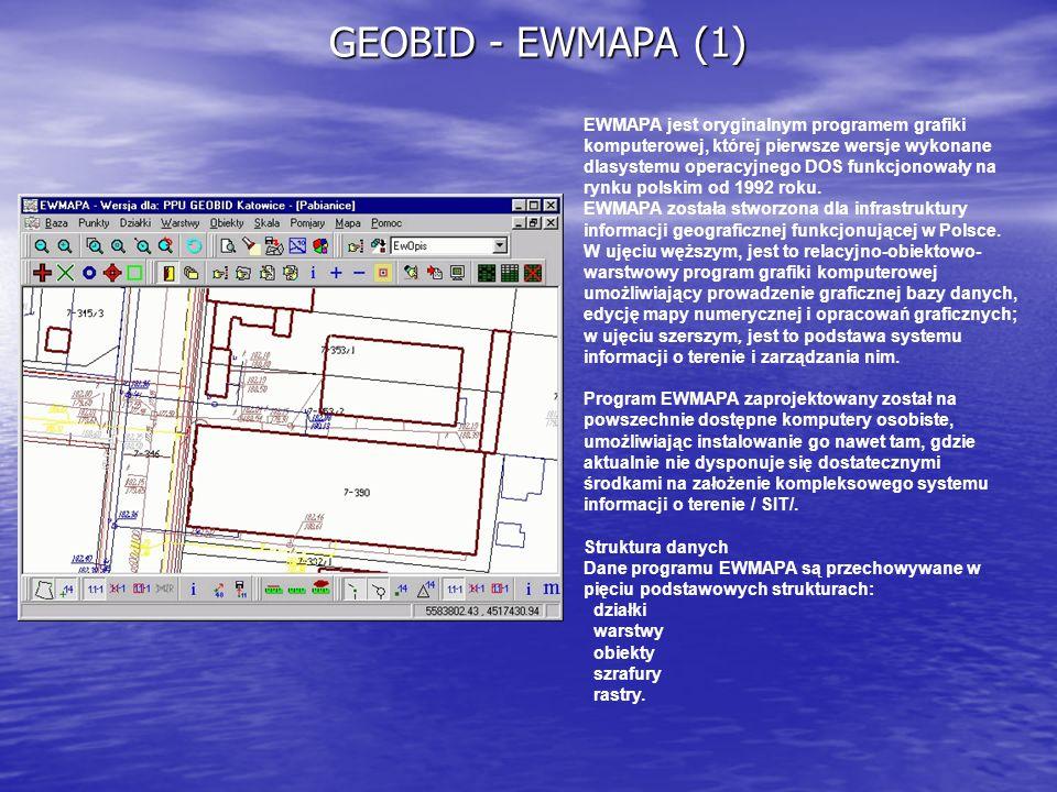 GEOBID - EWMAPA (1) EWMAPA jest oryginalnym programem grafiki komputerowej, której pierwsze wersje wykonane dlasystemu operacyjnego DOS funkcjonowały