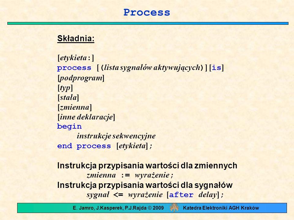 Process Składnia: [etykieta : ] process [ ( lista sygnałów aktywujących ) ] [ is ] [podprogram] [typ] [stała] [zmienna] [inne deklaracje] begin instrukcje sekwencyjne end process [etykieta] ; Instrukcja przypisania wartości dla zmiennych zmienna := wyrażenie ; Instrukcja przypisania wartości dla sygnałów sygnał <= wyrażenie [ after delay] ; E.