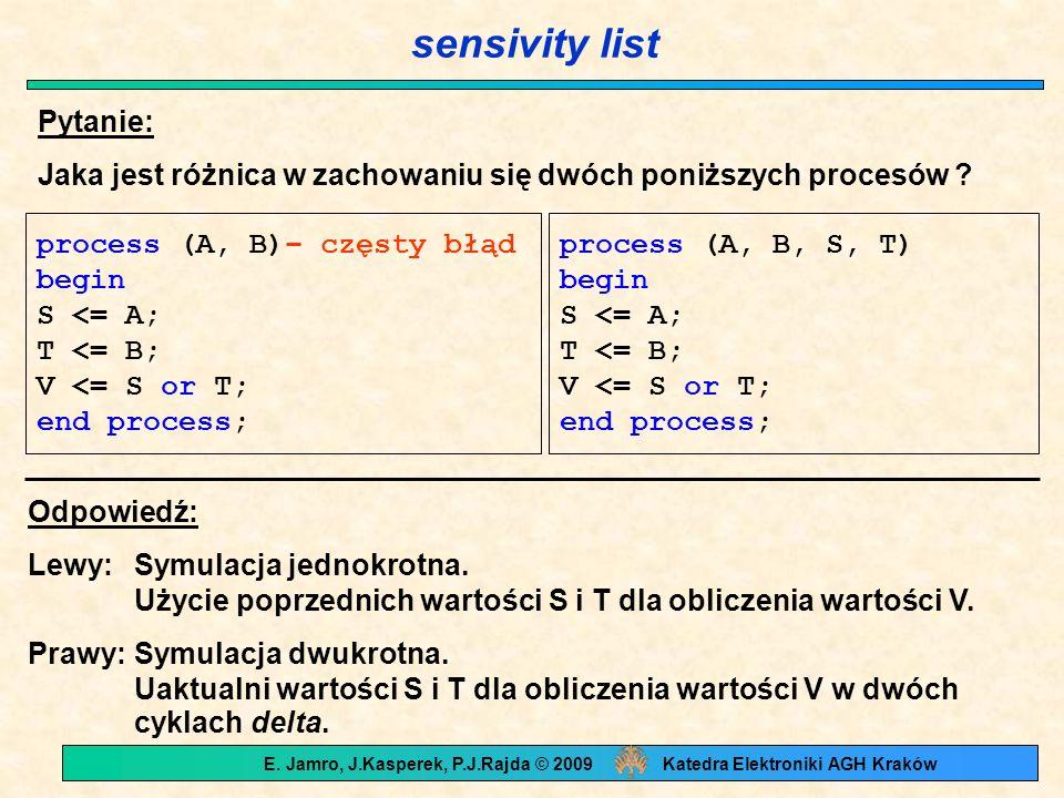 sensivity list Pytanie: Jaka jest różnica w zachowaniu się dwóch poniższych procesów ? Odpowiedź: Lewy:Symulacja jednokrotna. Użycie poprzednich warto