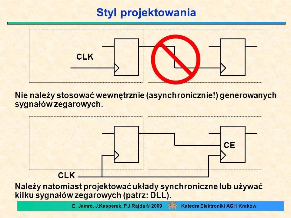 Styl projektowania CLK Nie należy stosować wewnętrznie (asynchronicznie!) generowanych sygnałów zegarowych. Należy natomiast projektować układy synchr