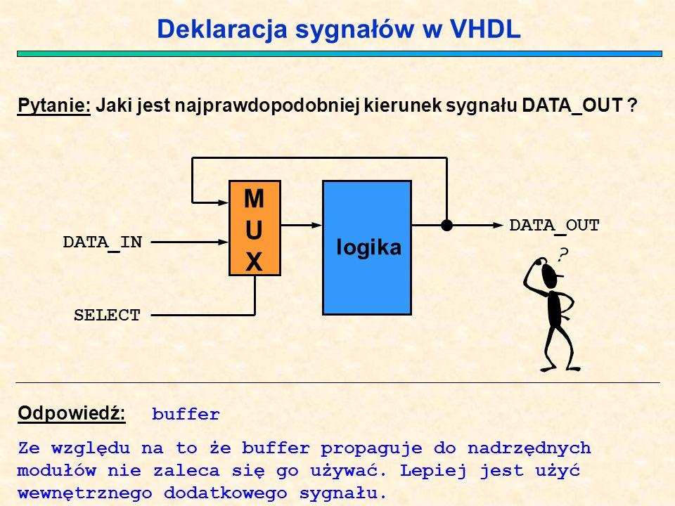 Deklaracja sygnałów w VHDL Pytanie: Jaki jest najprawdopodobniej kierunek sygnału DATA_OUT ? Odpowiedź: buffer Ze względu na to że buffer propaguje do