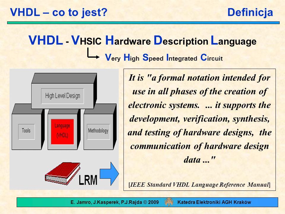 VHDL – jak, gdzie, kiedy.Zakres stosowania Modelowanie A= 01 .