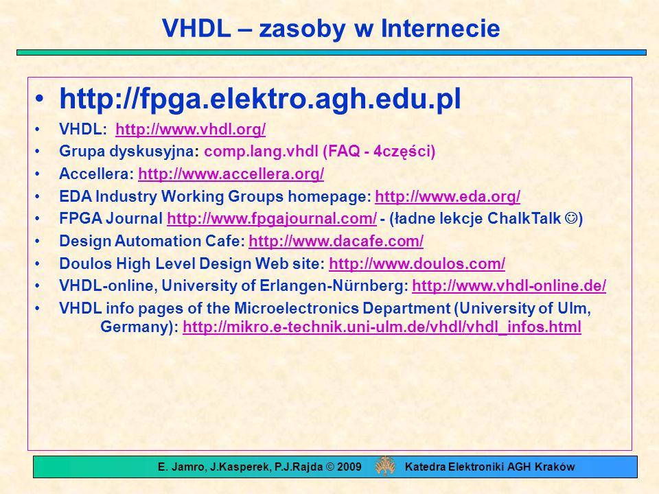 VHDL – zasoby w Internecie http://fpga.elektro.agh.edu.pl VHDL: http://www.vhdl.org/http://www.vhdl.org/ Grupa dyskusyjna: comp.lang.vhdl (FAQ - 4części) Accellera: http://www.accellera.org/http://www.accellera.org/ EDA Industry Working Groups homepage: http://www.eda.org/http://www.eda.org/ FPGA Journal http://www.fpgajournal.com/ - (ładne lekcje ChalkTalk )http://www.fpgajournal.com/ Design Automation Cafe: http://www.dacafe.com/http://www.dacafe.com/ Doulos High Level Design Web site: http://www.doulos.com/http://www.doulos.com/ VHDL-online, University of Erlangen-Nürnberg: http://www.vhdl-online.de/http://www.vhdl-online.de/ VHDL info pages of the Microelectronics Department (University of Ulm, Germany): http://mikro.e-technik.uni-ulm.de/vhdl/vhdl_infos.htmlhttp://mikro.e-technik.uni-ulm.de/vhdl/vhdl_infos.html E.