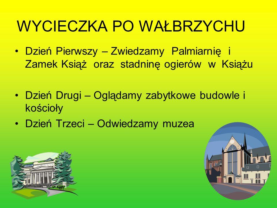 Dzień Pierwszy – Zwiedzamy Palmiarnię i Zamek Książ oraz stadninę ogierów w Książu Dzień Drugi – Oglądamy zabytkowe budowle i kościoły Dzień Trzeci – Odwiedzamy muzea