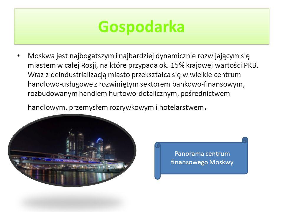 Gospodarka Moskwa jest najbogatszym i najbardziej dynamicznie rozwijającym się miastem w całej Rosji, na które przypada ok. 15% krajowej wartości PKB.