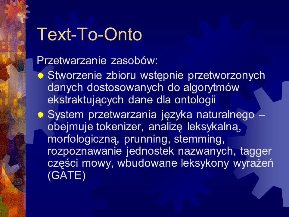 Text-To-Onto Przetwarzanie zasobów:  Stworzenie zbioru wstępnie przetworzonych danych dostosowanych do algorytmów ekstraktujących dane dla ontologii
