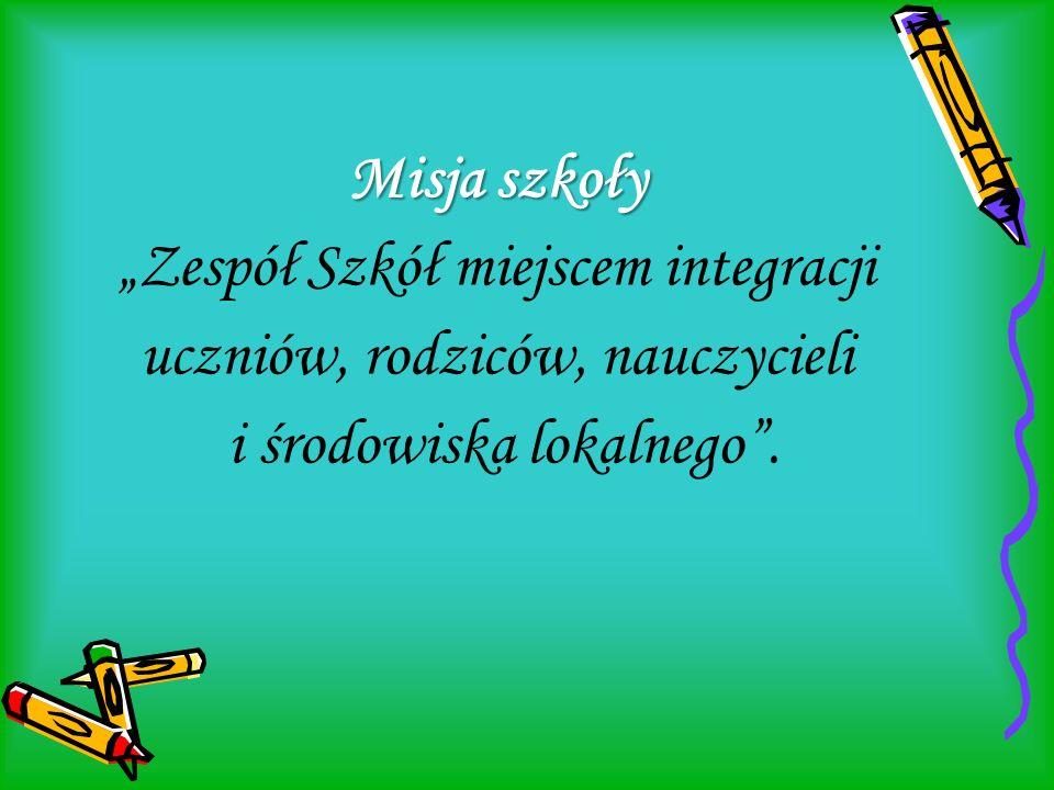 """Misja szkoły Misja szkoły """"Zespół Szkół miejscem integracji uczniów, rodziców, nauczycieli i środowiska lokalnego""""."""