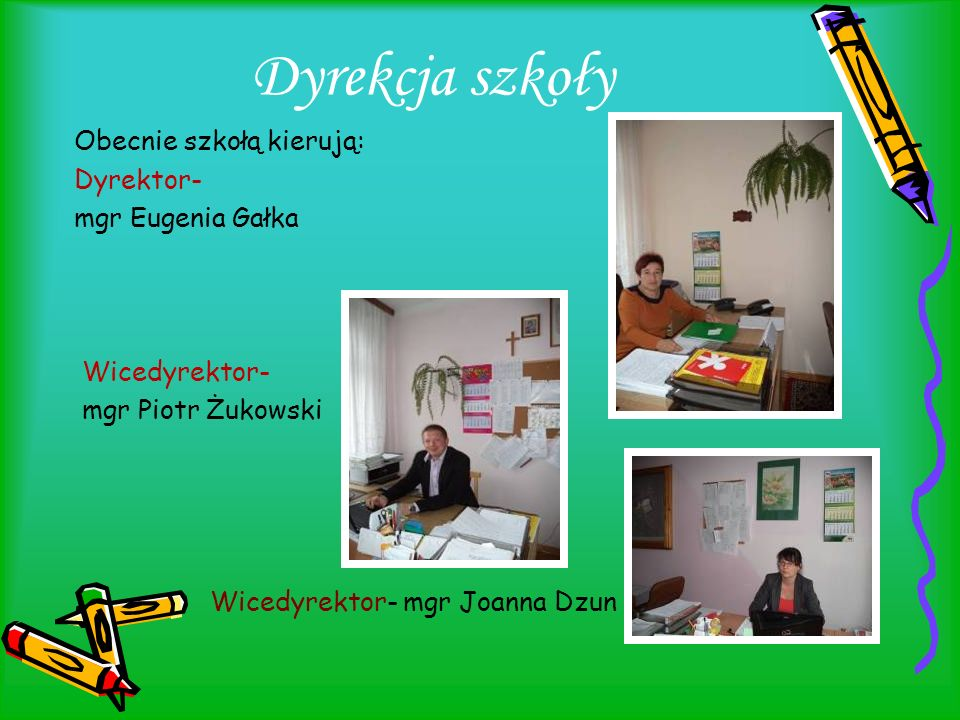 Dyrekcja szkoły Obecnie szkołą kierują: Dyrektor- mgr Eugenia Gałka Wicedyrektor- mgr Piotr Żukowski Wicedyrektor- mgr Joanna Dzun