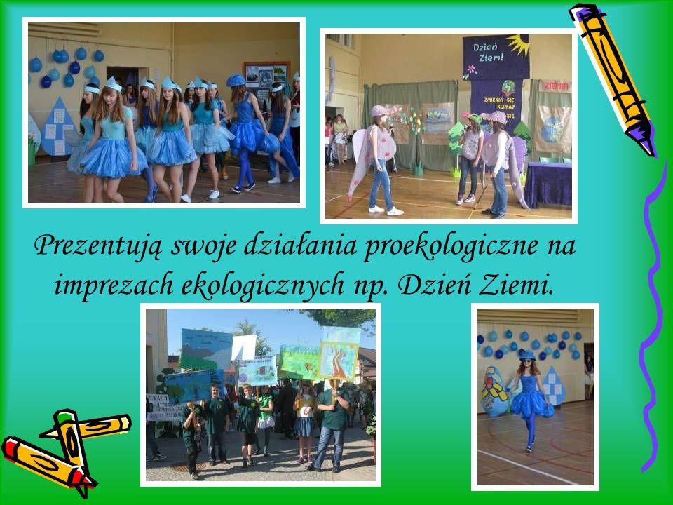 Prezentują swoje działania proekologiczne na imprezach ekologicznych np. Dzień Ziemi.
