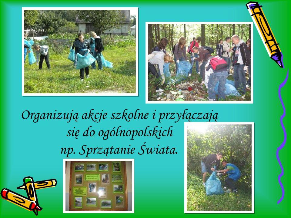 Organizują akcje szkolne i przyłączają się do ogólnopolskich np. Sprzątanie Świata.