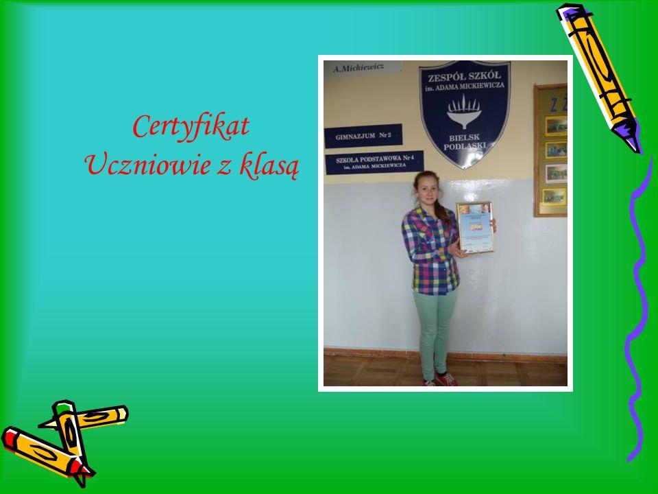 Certyfikat Uczniowie z klasą