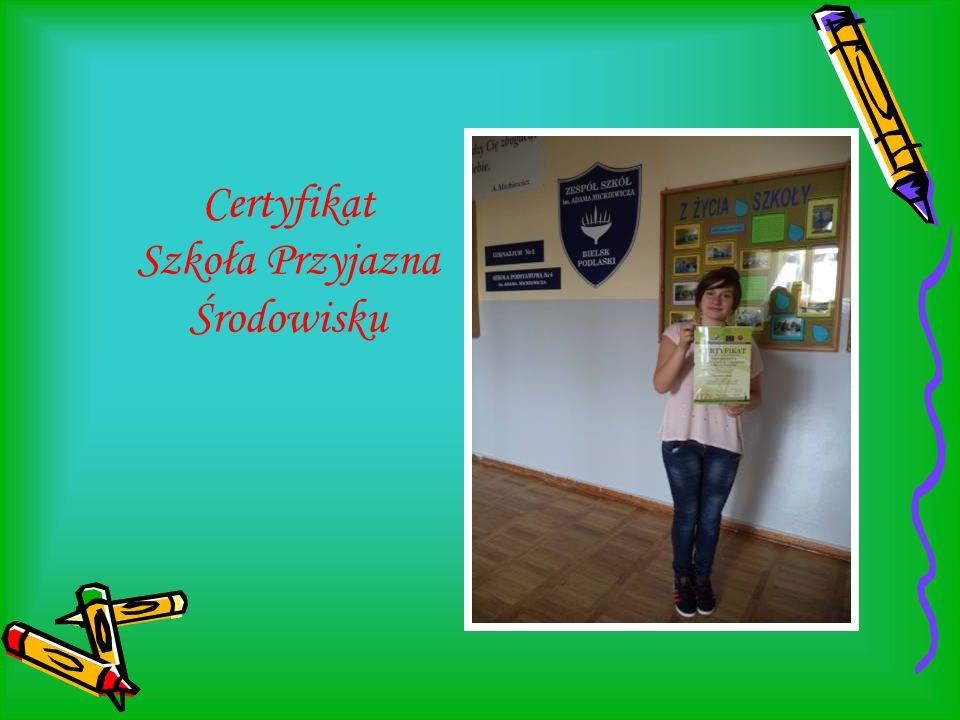 Certyfikat Szkoła Przyjazna Środowisku