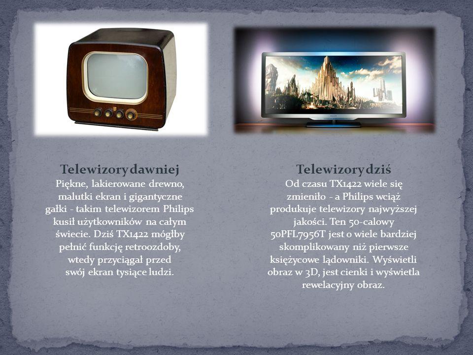 Telewizory dawniej Piękne, lakierowane drewno, malutki ekran i gigantyczne gałki - takim telewizorem Philips kusił użytkowników na całym świecie. Dziś