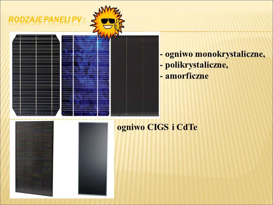 - ogniwo monokrystaliczne, - polikrystaliczne, - amorficzne ogniwo CIGS i CdTe