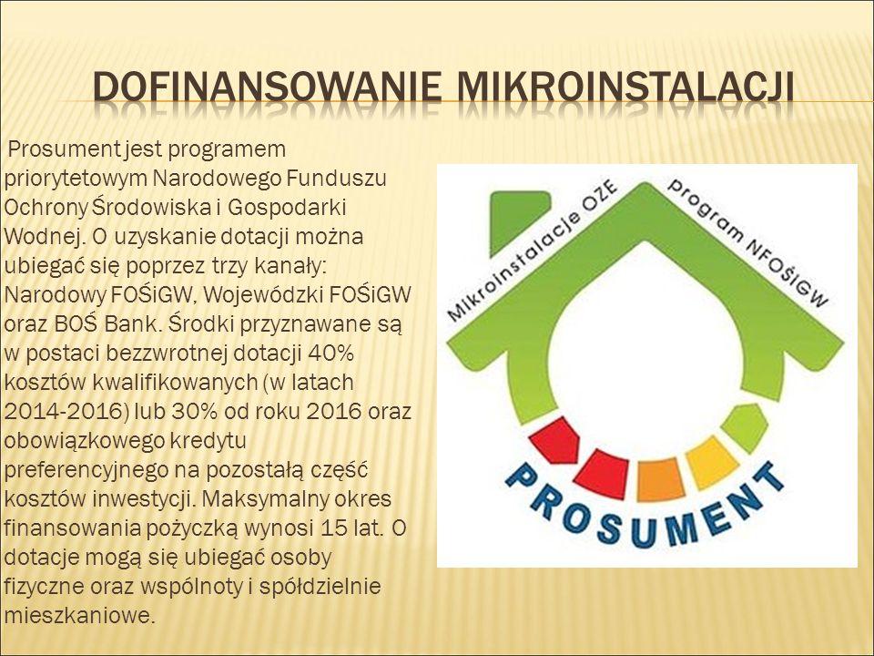 Prosument jest programem priorytetowym Narodowego Funduszu Ochrony Środowiska i Gospodarki Wodnej. O uzyskanie dotacji można ubiegać się poprzez trzy