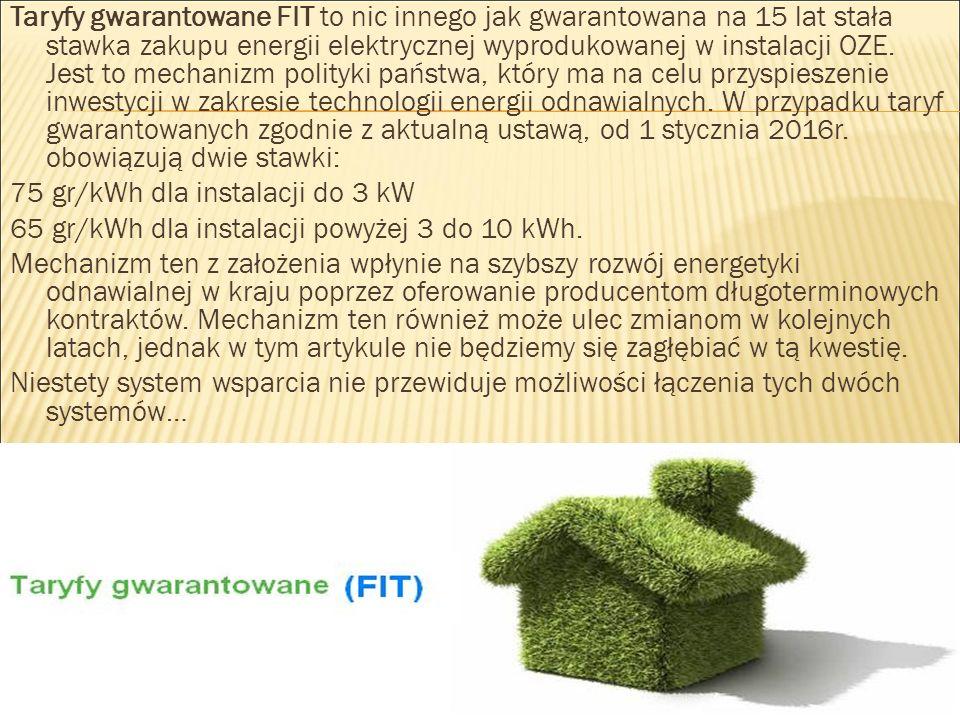 Taryfy gwarantowane FIT to nic innego jak gwarantowana na 15 lat stała stawka zakupu energii elektrycznej wyprodukowanej w instalacji OZE. Jest to mec