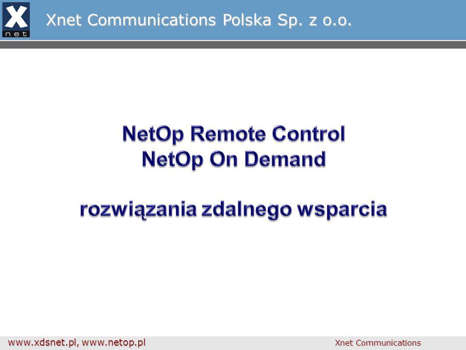 www.xdsnet.pl, www.netop.pl Xnet Communications Zdalne sesje a firewalle GUEST Netop WebConnect HOST WebConnect specjalny serwer połączeń dla zdalnych sesji Wszędzie ruch wyjściowy – nie trzeba rekonfigurować firewalli
