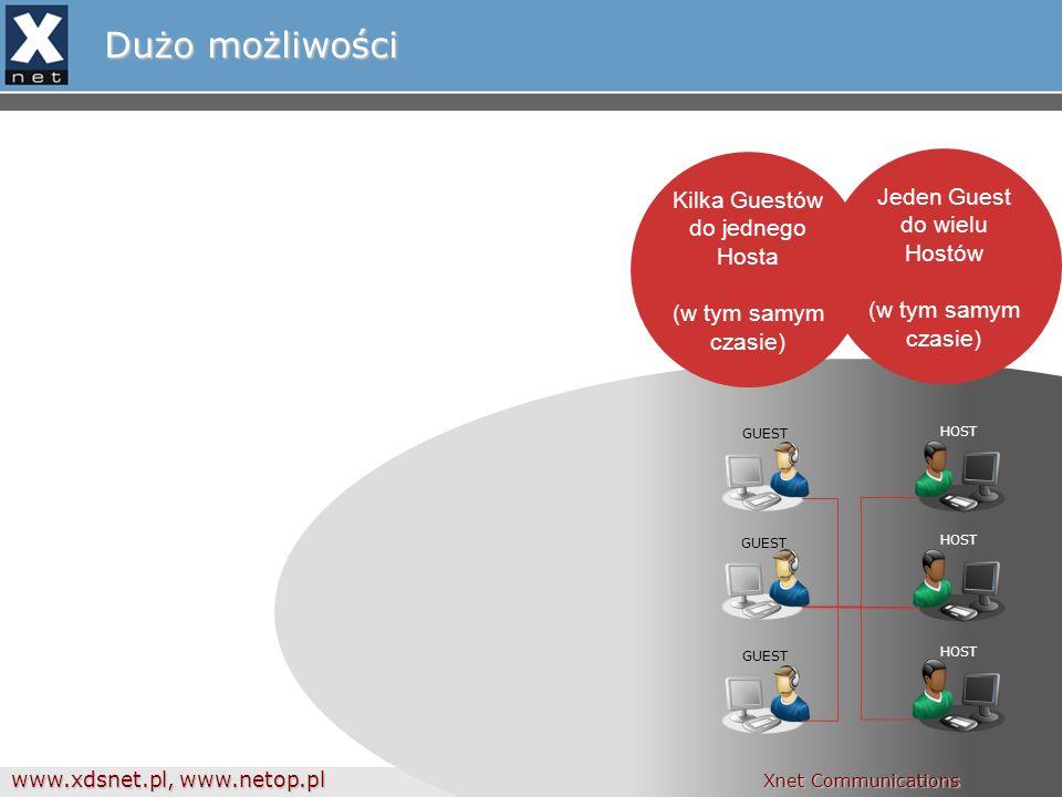 www.xdsnet.pl, www.netop.pl Xnet Communications Dużo możliwości GUEST HOST WIELODOSTĘP Zdalna administracja Zdalne zarządzanie Inwentaryzacja Intel vPro/ iAMT Transfer plików txt, audio, video czat Demonstracja Logowanie zdarzeń Nagrywanie sesji Xnet Communications