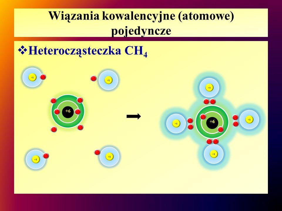 Wiązania kowalencyjne (atomowe) pojedyncze  Heterocząsteczka – CH 4 H + H | H + C + H  H C H  H – C – H + H | H  W cząsteczce metanu są 4 pojedyncze wiązania atomowe (kowalencyjne) C – H,  atom C osiąga oktet elektronowy i konfigurację neonu,  atomy H osiągają dublet elektronowy i konfigurację helu.